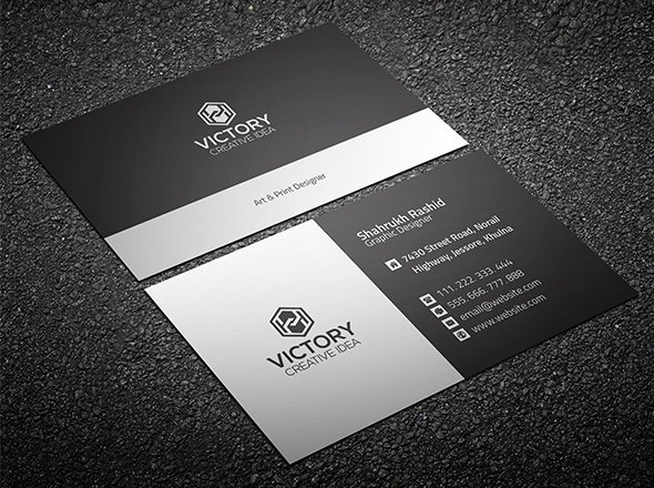 20 professional business card design templates for free download print ready business card template in dark and light grey colors available for free download as a layered and fully editable psd file wajeb Gallery