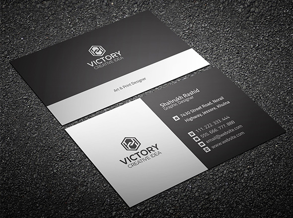 20 professional business card design templates for free download print ready business card template in dark and light grey colors available for free download as a layered and fully editable psd file wajeb Choice Image