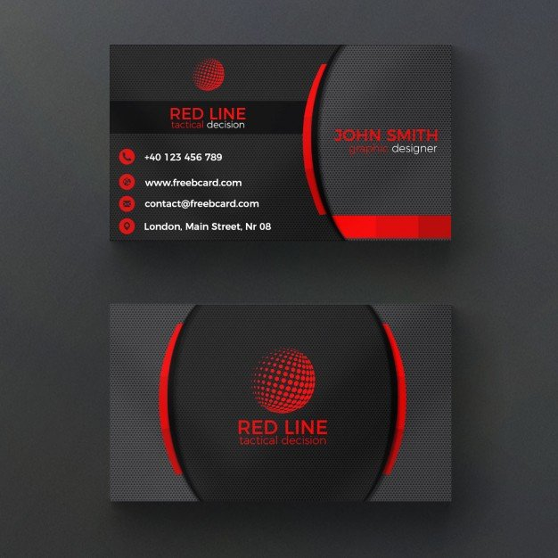20 professional business card design templates for free download a free psd template for corporate business card in bold red and black colors the design features a circular grill pattern background on both front and back fbccfo Images