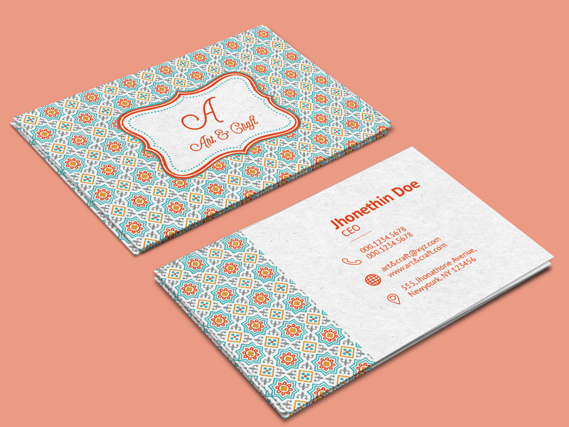 20 professional business card design templates for free download an artistic visiting card design template for art and craft agencies the template features a beautiful colorful background pattern and is perfect for wajeb