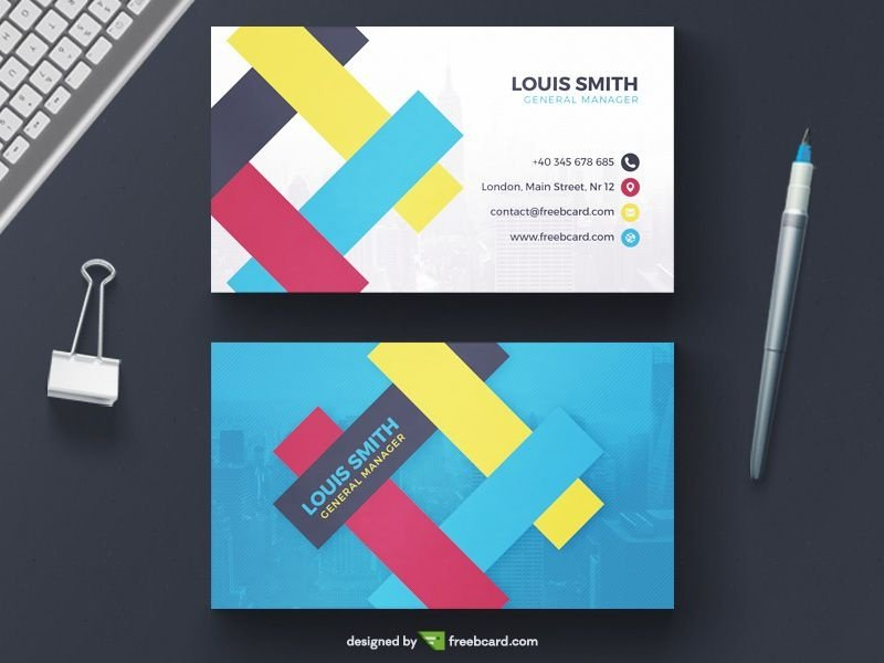 20 professional business card design templates for free download a creative business card template with vibrant colors and overlapping geometric shapes available for free download in psd format wajeb Image collections