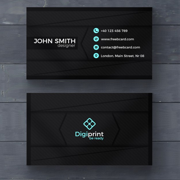free download visiting card template in dark color with seamless square pattern background
