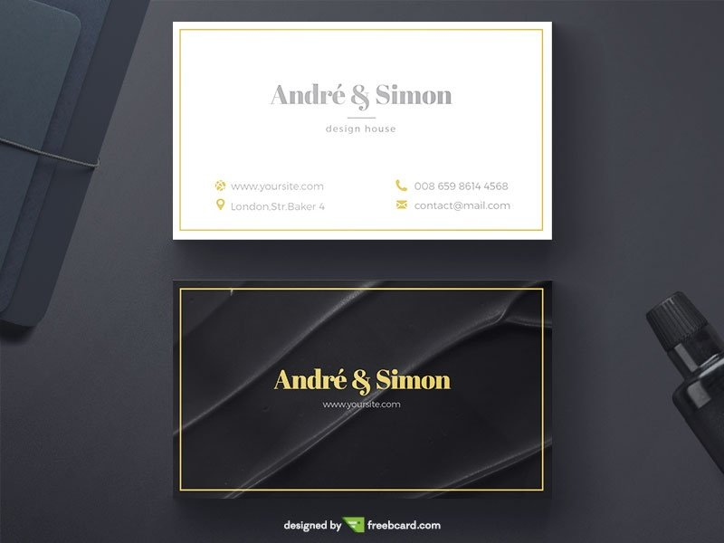 20 professional business card design templates for free download black silk fabric texture on one side and white color on the other along with thin lines give this business card template a classy yet elegant look reheart Gallery