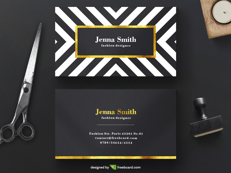 20 professional business card design templates for free download free psd business card template for professionals in fashion industry the template features a luxurious color palette of black gold and white friedricerecipe Gallery