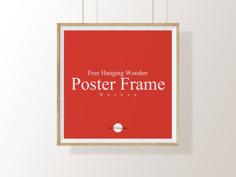 free hanging square poster frame mockup