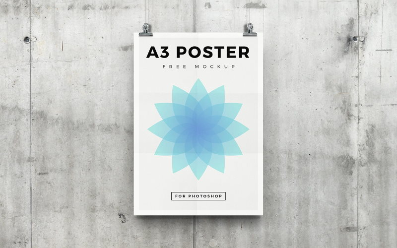 hanging a3 poster psd mockup free