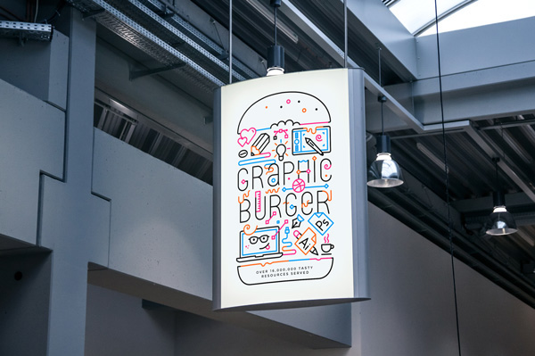 Indoor advertising poster psd mockup