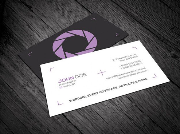 20 professional business card design templates for free download a minimal business card template for photographers and videographers download includes eps vector file and two separate psd files for front and back reheart Gallery