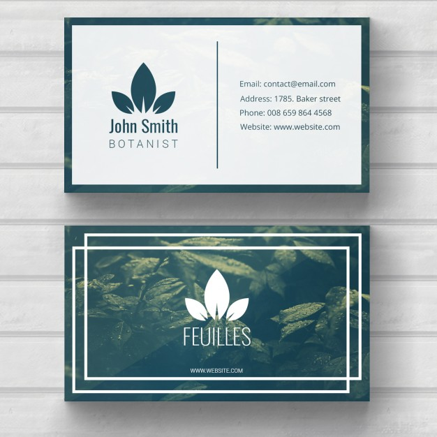 This Nature Inspired Business Card Design Template Features A Full Photo Background And Simple Geometric Shapes Laid Out In An Aesthetic Way