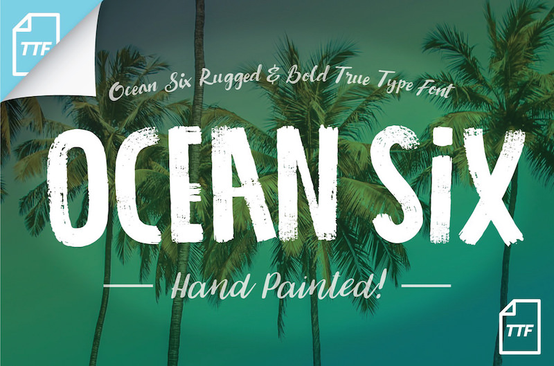 Inspired By The Typography On Vintage Catalogs Ocean Six Is A Bold Display Brush Font Hand Painted Using Acrylic It Features Detailed