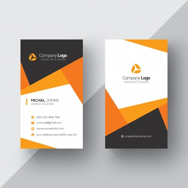 20 professional business card design templates for free download free psd template for a modern looking business card in vertical orientation the template features trendy geometric design in orange white and dark grey reheart