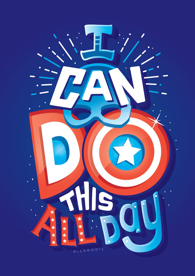 Captain America Hand Lettering Illustration by Risa Rodil