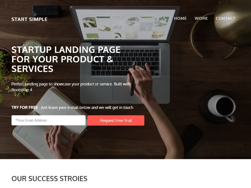 Free Bootstrap 4 Landing Page for Startups and Small Business ...