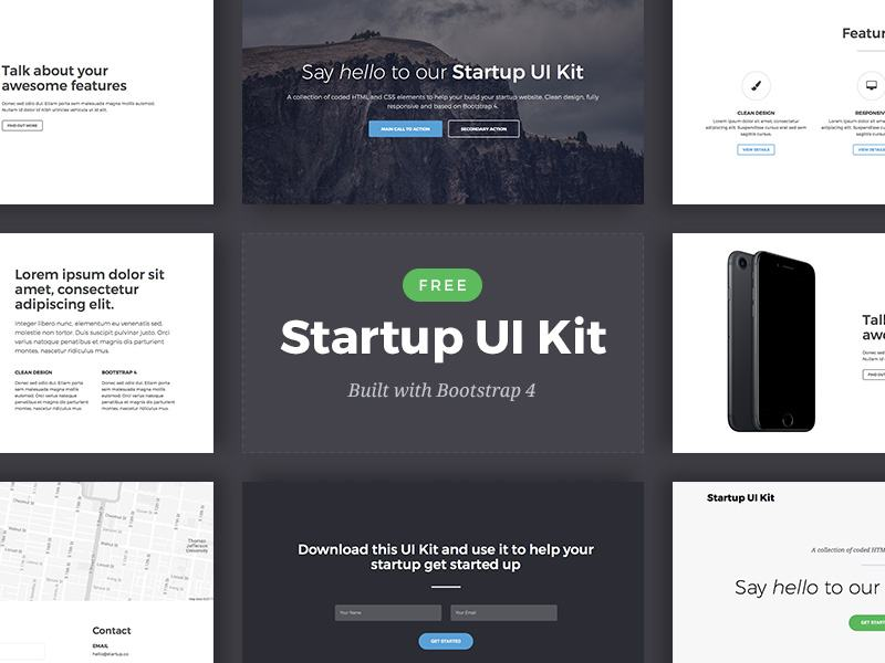 15 Bootstrap 4 UI Kits - HTML, PSD & Sketch for Free
