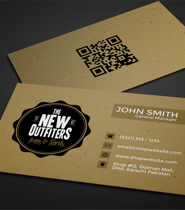 20 professional business card design templates for free download the business card template is designed in a muted and limited color palette with textured background and a retro style badge logo flashek Image collections
