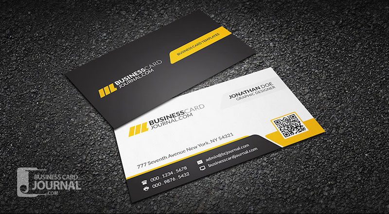 20 professional business card design templates for free download free design template for corporate business card in yellow black and white color scheme with placeholder for placing qr code the yellow color scheme can reheart Image collections
