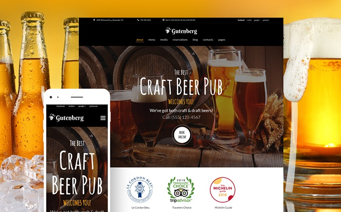 g - Beer Pub and Brewery WordPress Theme