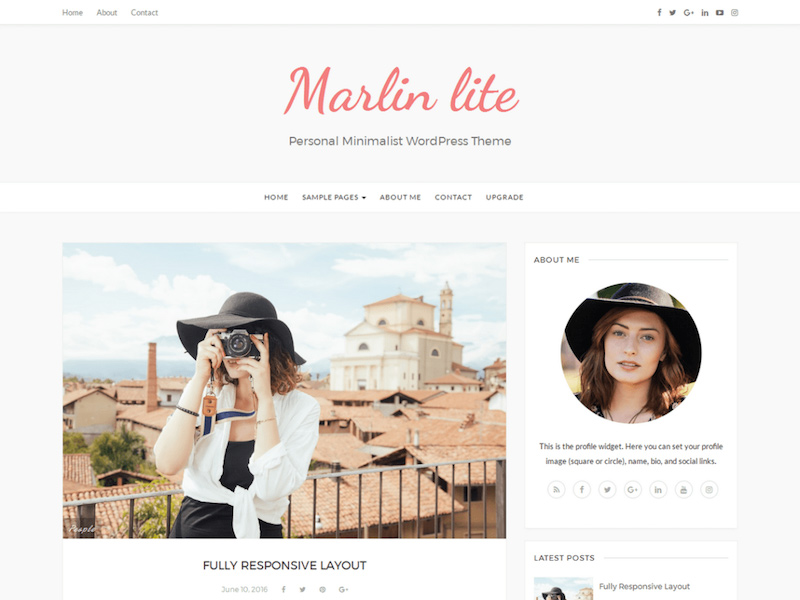 Marlin - Free Minimalist Personal WordPress Theme