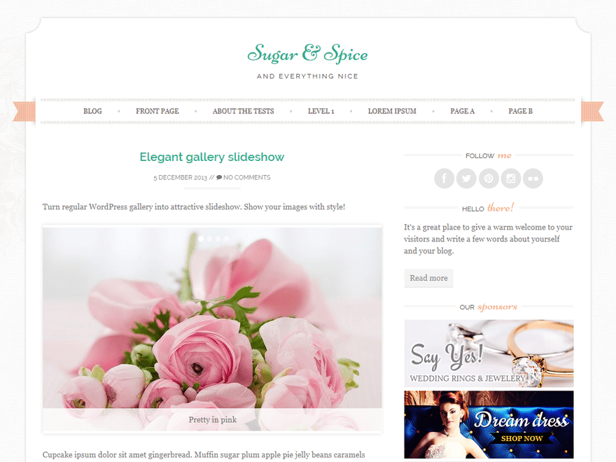 Sugar & Spice - Free Elegant Feminine WordPress Theme