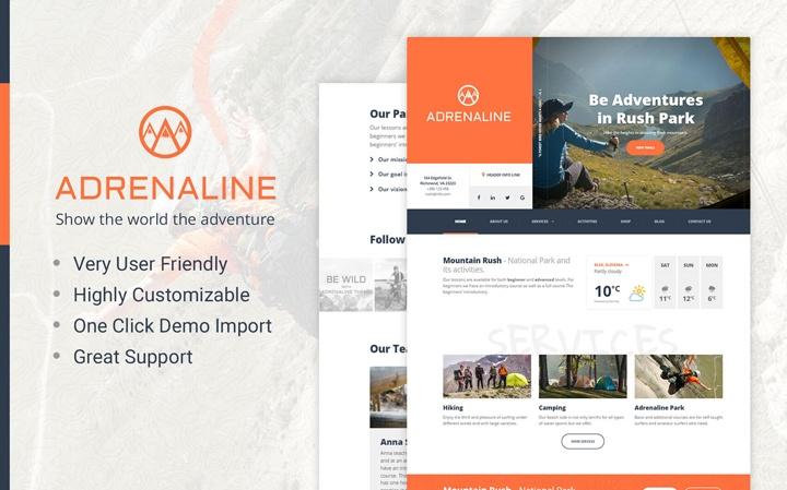 Adrenaline - WordPress theme for adrenaline sports businesses WordPress Theme