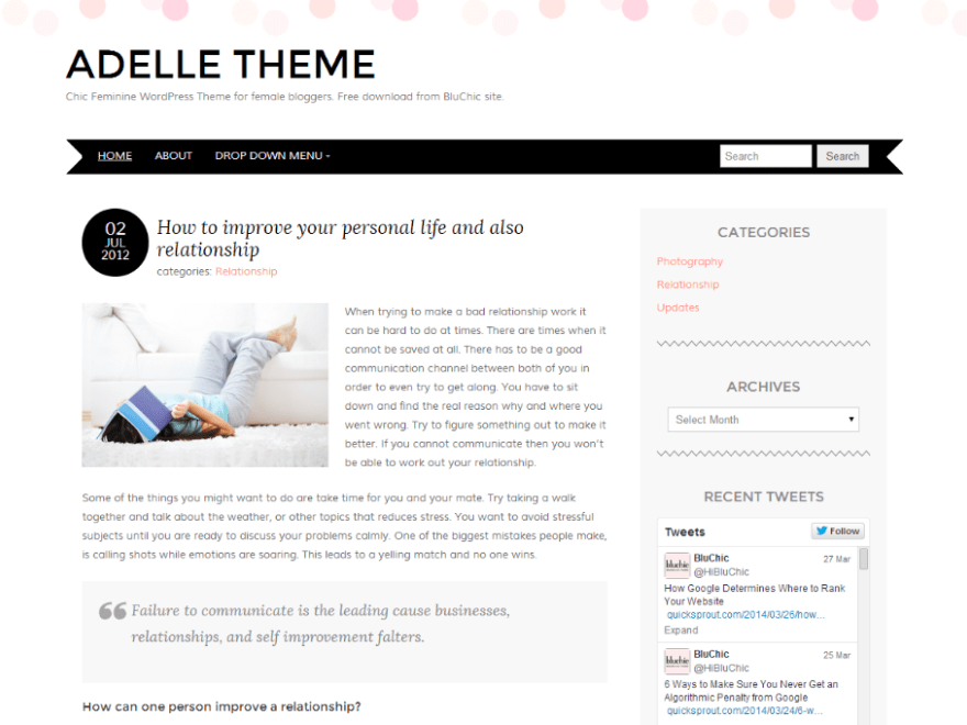 Adelle - Free Feminine WordPress Theme