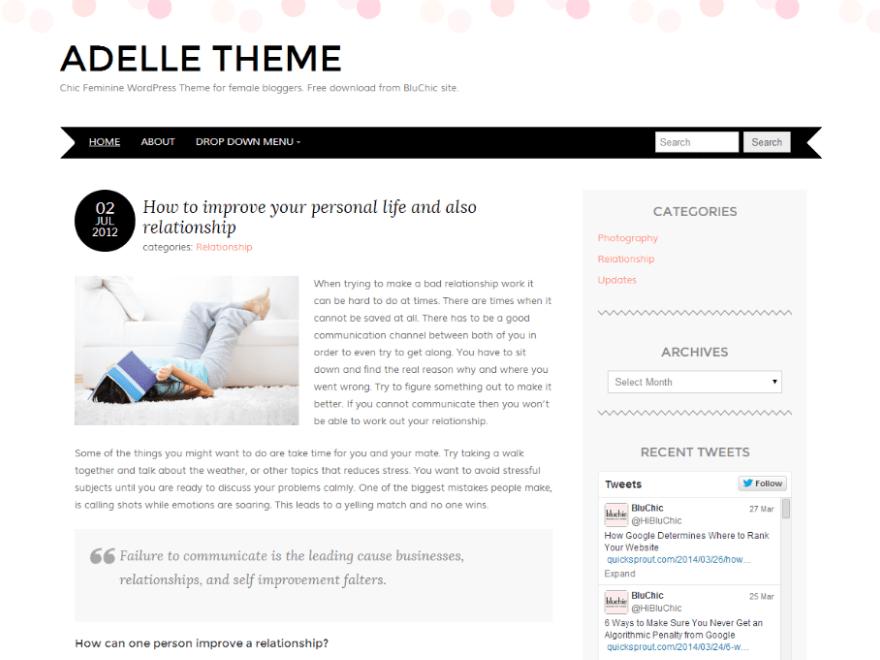 Adelle - Free Feminine WordPress Theme