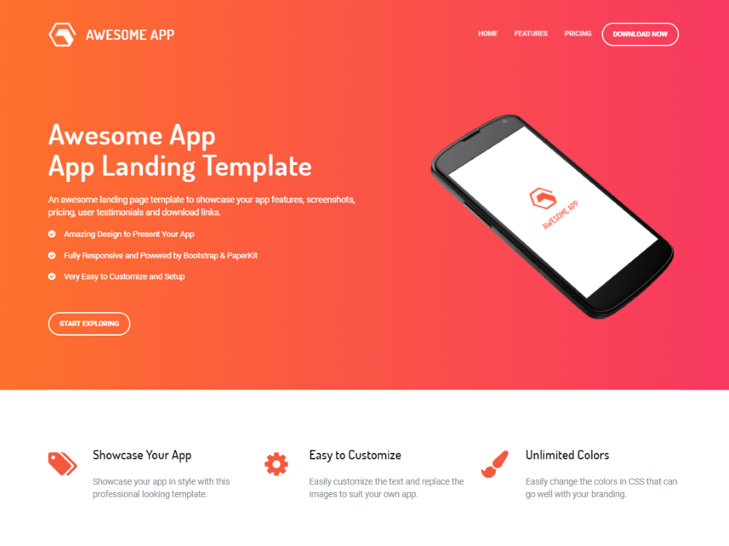 awesome app is a free one page website template built with bootstrap 4 and paperkit 2 it is suitable for creating websites and landing pages of smartphone
