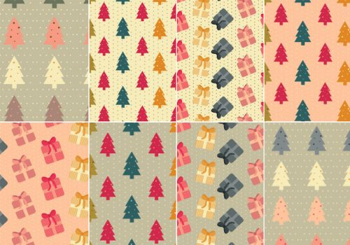 8 Free Christmas themed Patterns with trees and presents