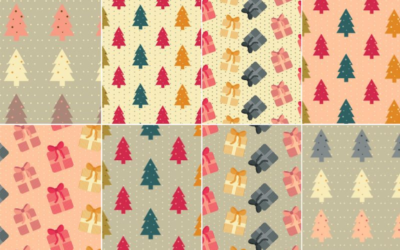 8 Free Colorful Christmas Patterns (AI & EPS)