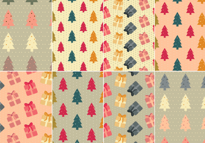 8 Free Vector Christmas Patterns with trees and presents