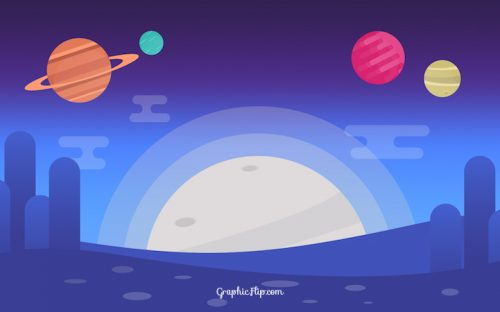 Free Space Background with Colorful Planets in Flat Design