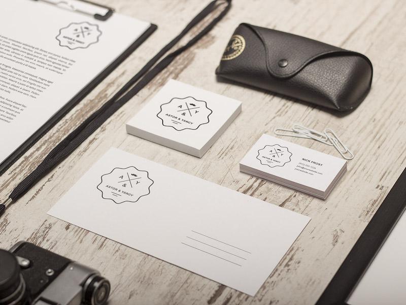 PSD Mockup for Retro themed Branding showcase