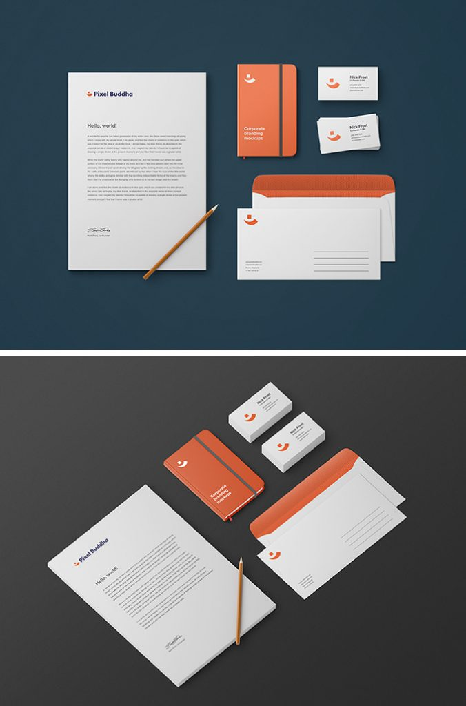 15 free branding mockups psd with stationery items