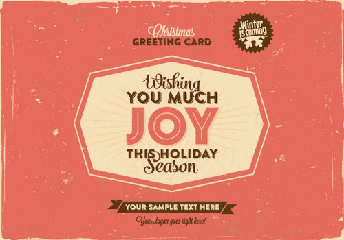 Free Christmas Greeting Vector in Retro Style