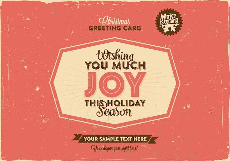 Free Retro Christmas Greeting Vector Template