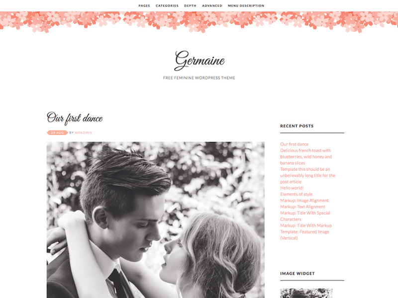 Germaine - Minimal Feminine Blog Theme