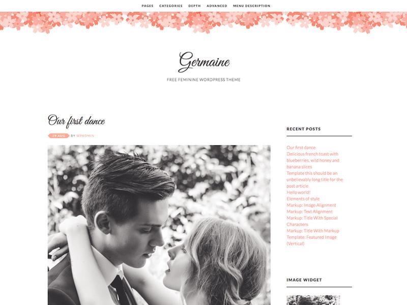Germaine - Minimal Feminine Blog Theme