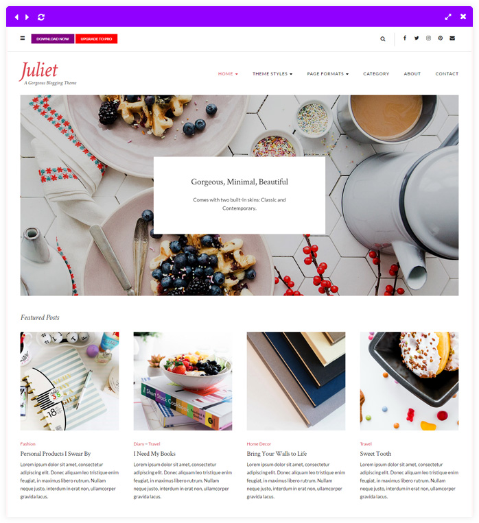 Juliet - Feminine WordPress theme for lifestyle bloggers