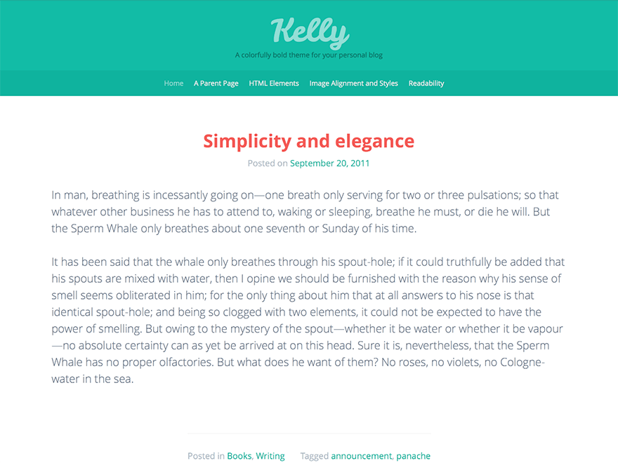 Kelly - A Colorful Personal Blog theme by Automattic