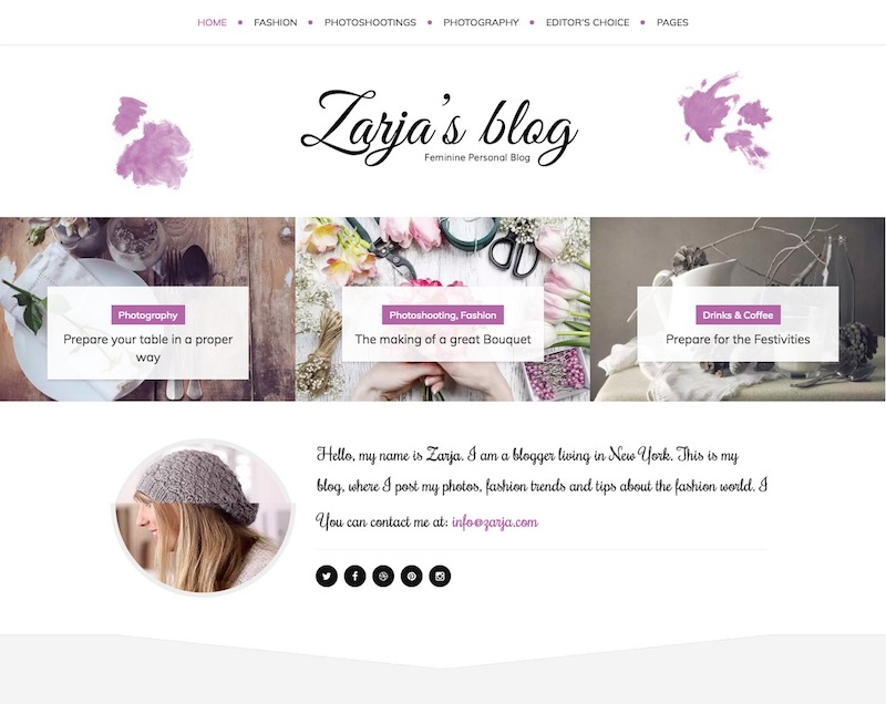 Zarja Feminine Blog Theme