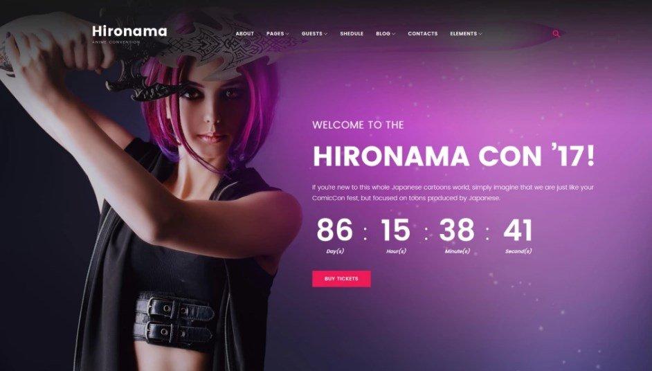 Hironama - Anime Convention WordPress Theme