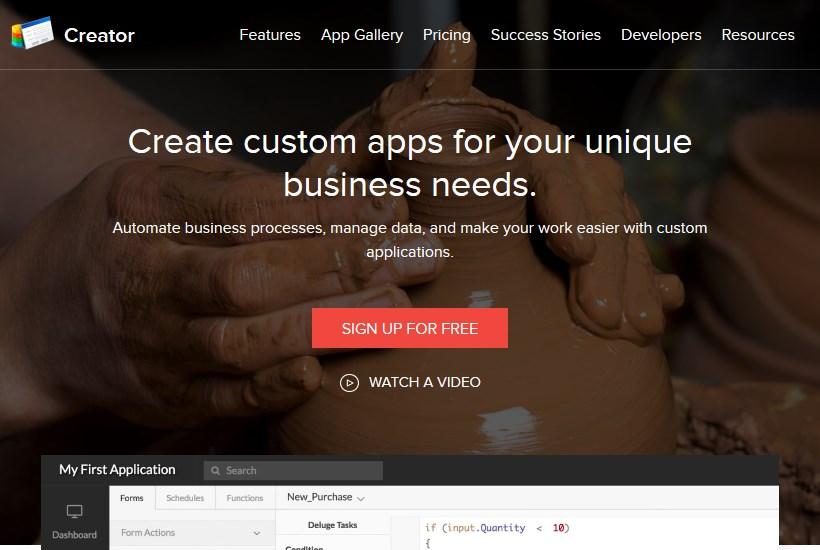 zoho creator web app framework