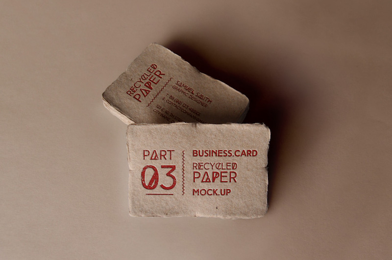Free mockup for business cards printed on recycled paper