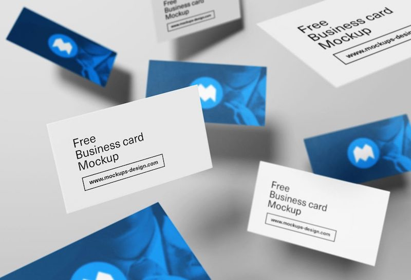 Free Floating/Flying Business Cards PSD Mockup