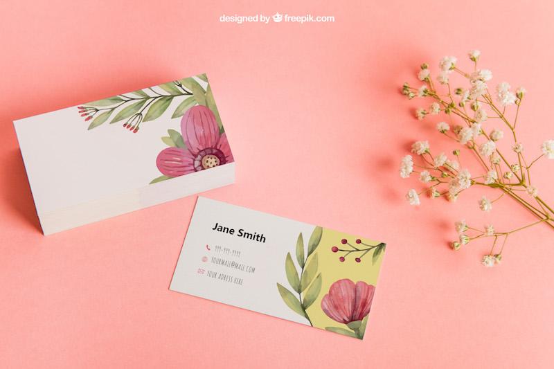 Free Floral Design Business Card Mockup