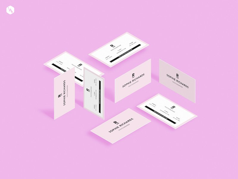 Free Perspective Visiting Cards Mockup