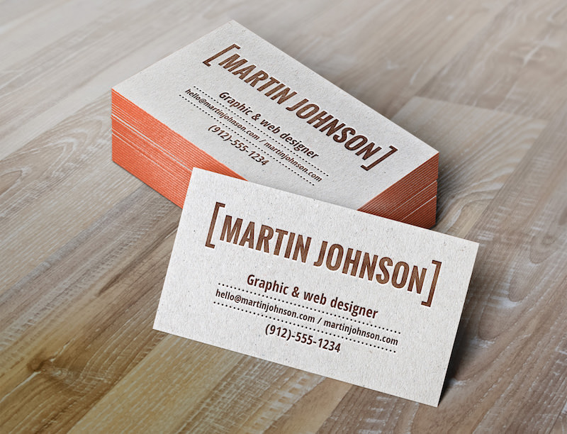 Mockup of business cards with letterpress effect
