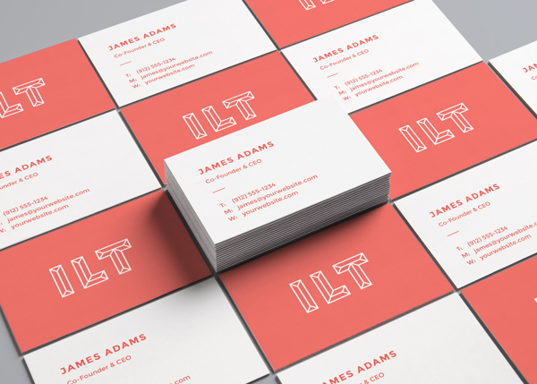 Perspective view mockup for business cards