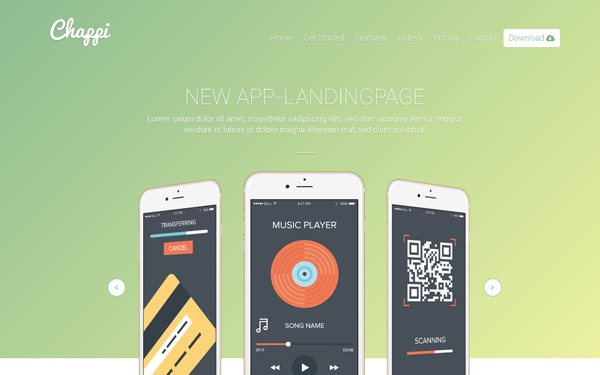 chappi responsive app landing page