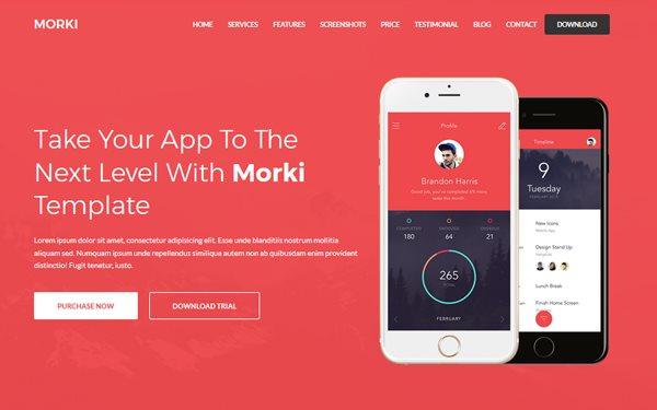 morki premium app landing template